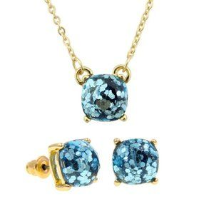 Sky Blue Glitter Square Necklace and Earring Set